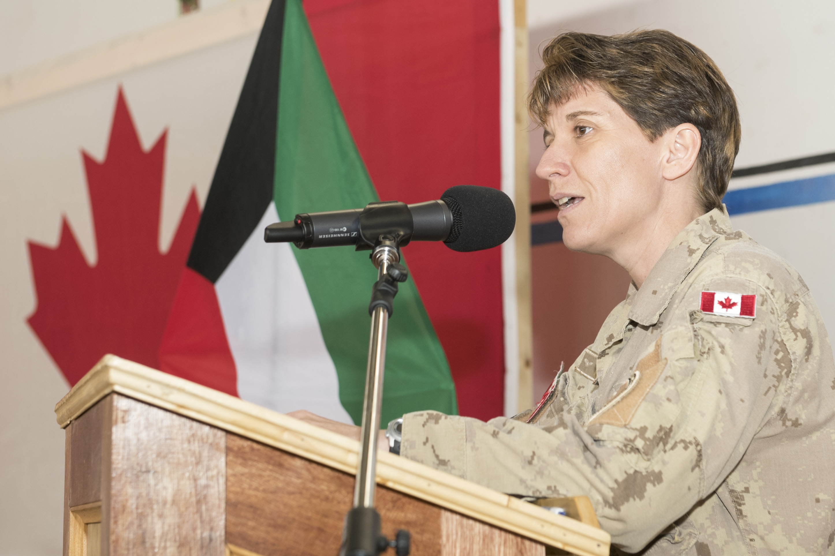 Brigadier-General Lise Bourgon, a CH-124 Sea King pilot, takes command of Joint Task Force-Iraq in Kuwait during Operation Impact on May 13, 2015. Brigadier-General Bourgon was the first woman to command a Canadian combat mission. PHOTO: KW01-2015-0014-018, DND-Operation Impact