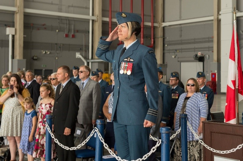 Lieutenant-Colonel Diane Baldasaro, the new Commanding Officer of 437 Transport Squadron takes the salute during the Squadron's change of command parade at 8 Wing Trenton, Ontario on June 28, 2018. PHOTO: Corporal Zebulon Salmaniw