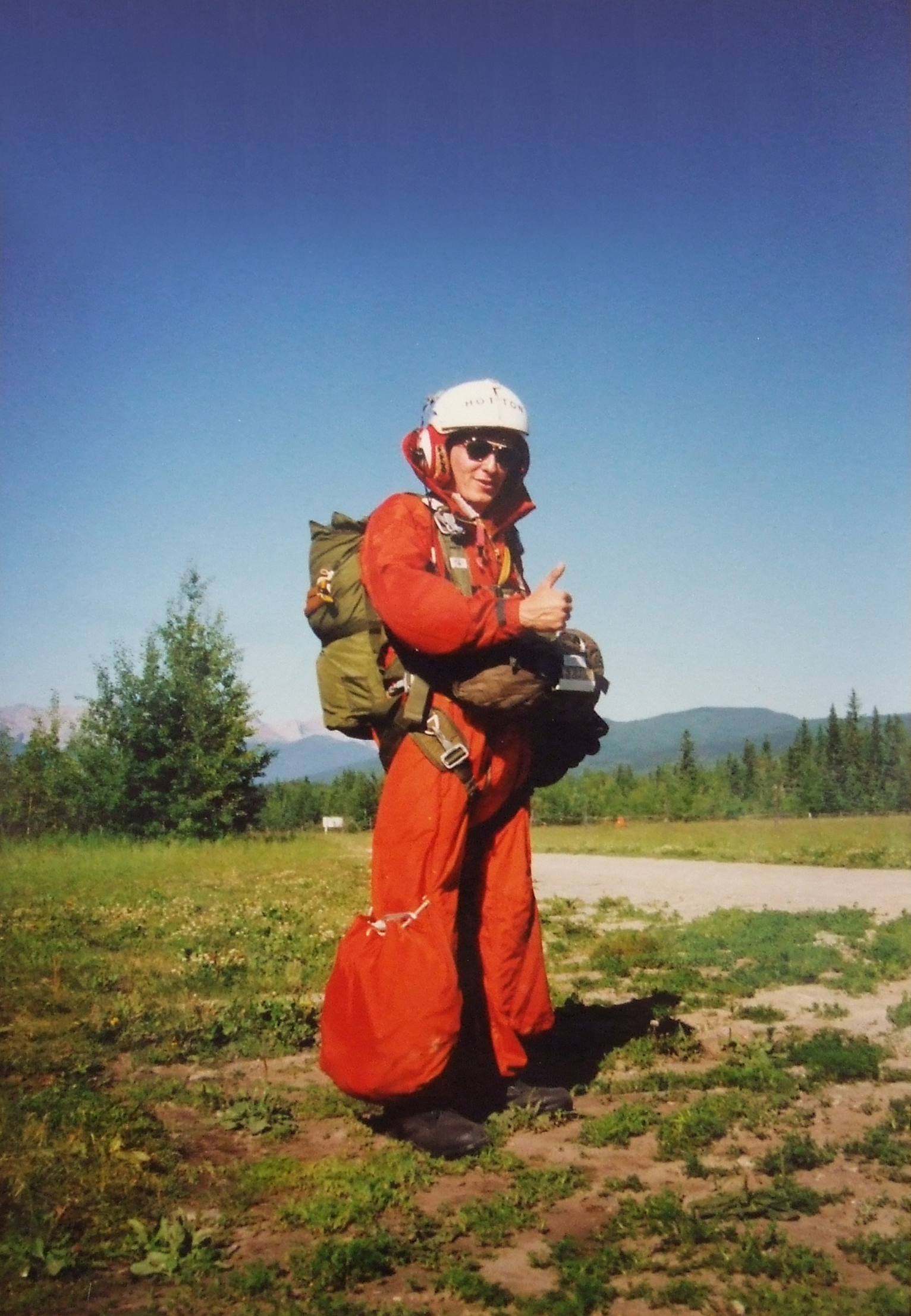 Ready for the final jump in July 1990 for his last search and rescue technician training exam, now-Sergeant André Hotton looks at his puffy-legged jumpsuit and grimaces: catching that material on a parachute cord on his first exercise jump, once posted to Edmonton, broke his leg mid-air. PHOTO: Submitted