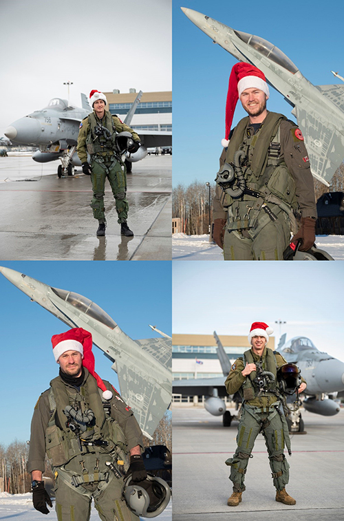 A photo montage showing four military pilots